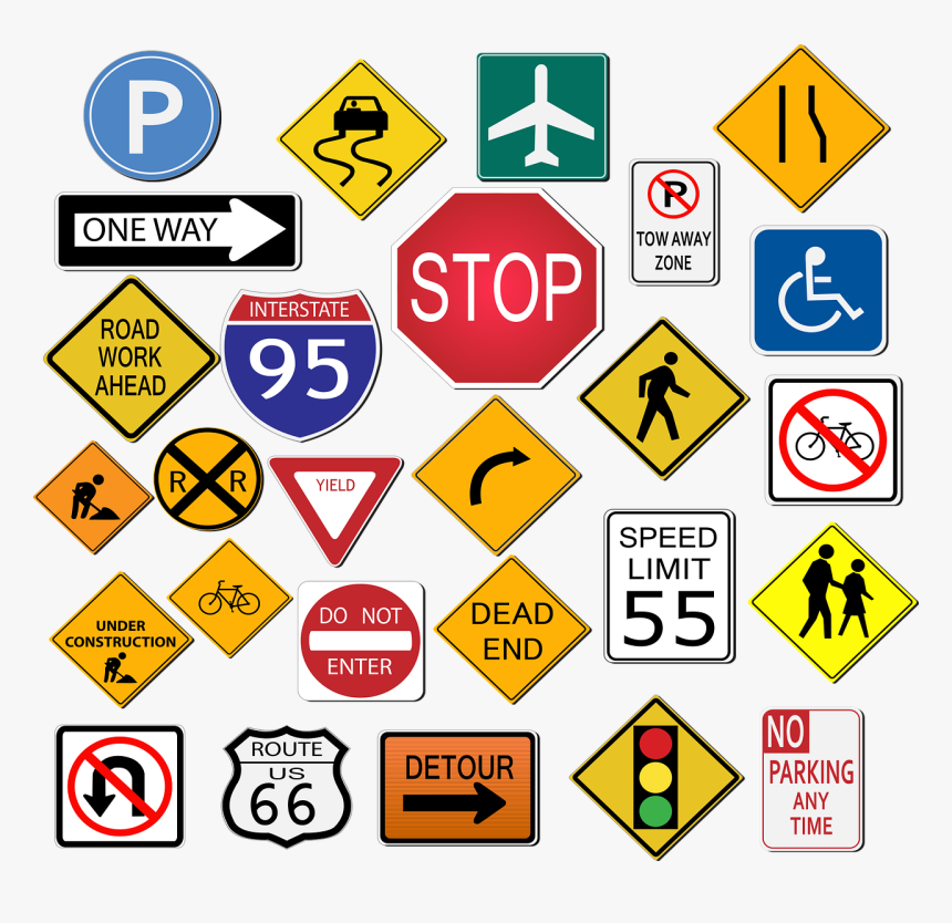 Street Signs, Stop, Highway Sign, Traffic, Road - Different Sign In Road, HD Png Download, Free Download