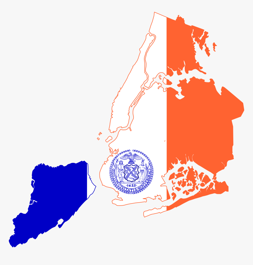 Transparent New York City Png - New York Flag Map, Png Download, Free Download