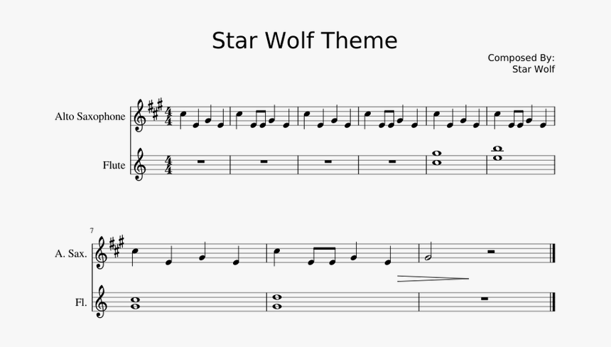 Star Wolf Theme Flute Sheet Music, HD Png Download, Free Download