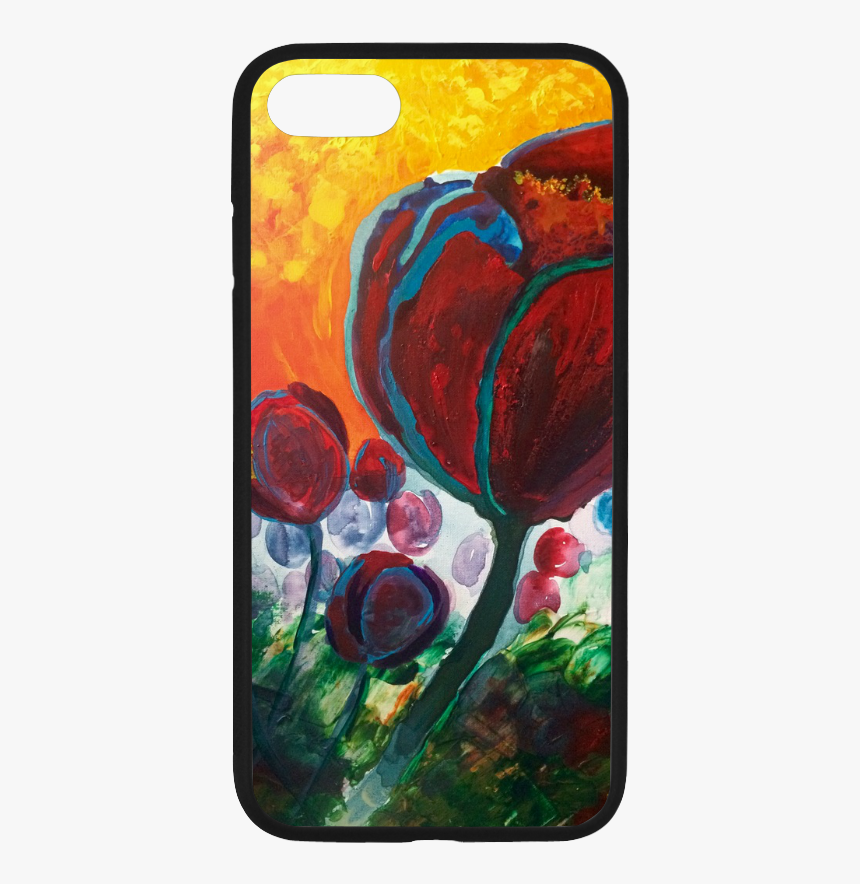 Blue High Tulips On Fire Rubber Case For Iphone 7 - Mobile Phone Case, HD Png Download, Free Download