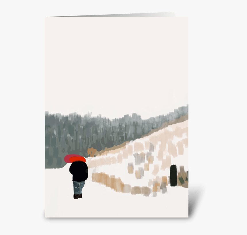 Red Umbrella In The Snow Greeting Card - Snow, HD Png Download, Free Download