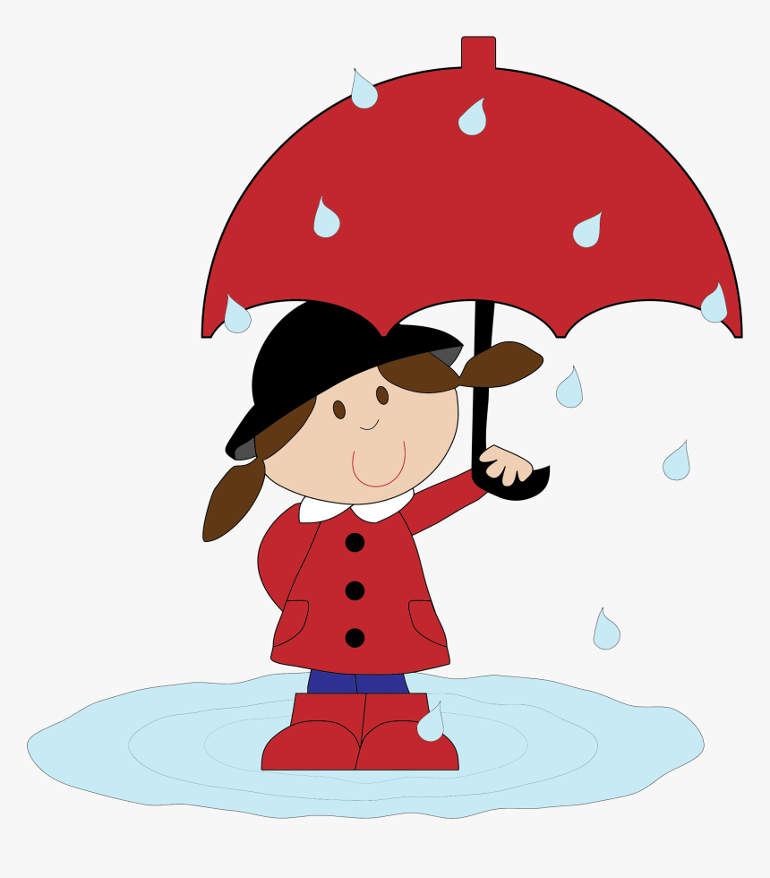 Cartoon Girl In The Rain Clip Arts - Girl With Umbrella Clipart, HD Png Download, Free Download